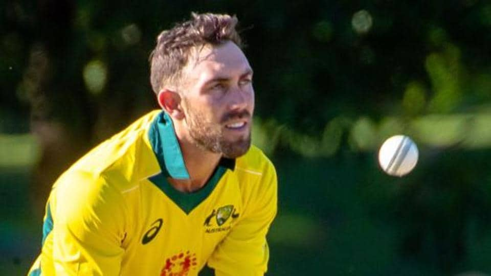 Australia's Glenn Maxwell catches the ball during the second of three warm-up cricket matches between New Zealand and Australia in Brisbane on May 8, 2019.