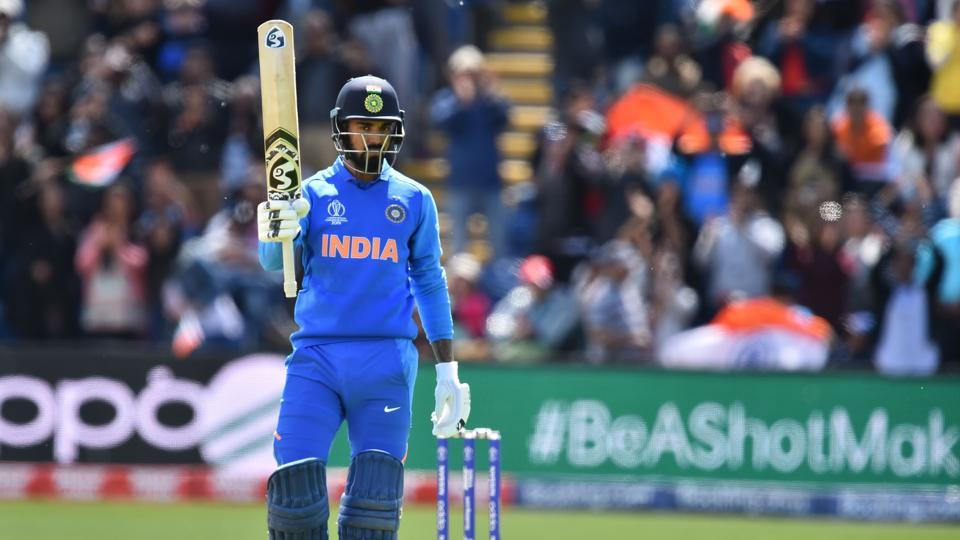 India's K.L. Rahul celebrates reaching his century during the 2019 Cricket World Cup warm up match between Bangladesh v India at Sophia Gardens stadium in Cardiff, south Wales, on May 28, 2019. (Photo by Glyn KIRK / AFP)