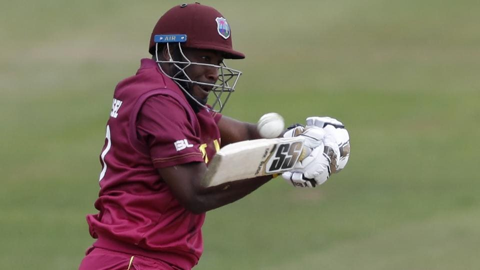 West Indies' Andre Russell bats during the 2019 Cricket World Cup warm up match.