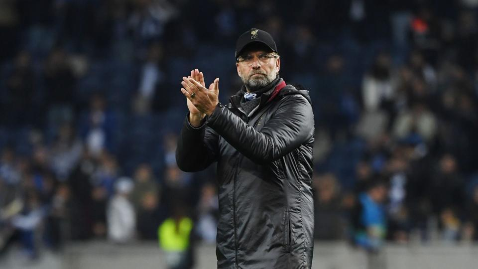 Liverpool's German manager Jurgen Klopp celebrates after winning the UEFA Champions league semi-final second leg football match between Liverpool and Barcelona at Anfield in Liverpool, north west England on May 7, 2019. (Photo by Paul ELLIS / AFP)