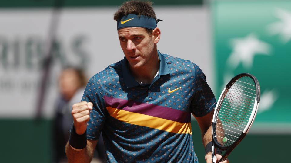 Argentina's Juan Martin del Potro celebrates after winning his first round match against Chile's Nicolas Jarry.