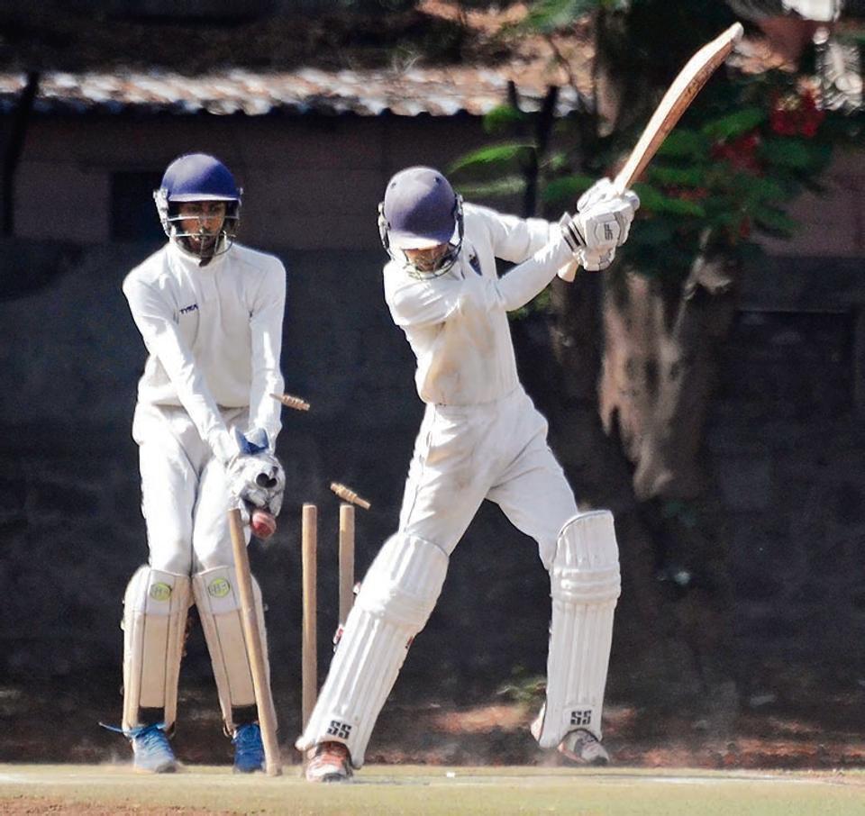 Tejas Tolsankar of Virag Cricket Academy clean bowled by Shlok Dharmadhikari of Deccan Gymkhana (not in picture) in the quarter-final of the Shivrampant Vishnu Damle trophy under-19 inter-club cricket tournament at the Katariya High School Ground on Tuesday.