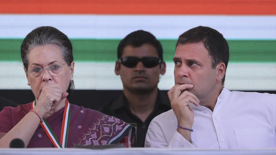 UPA chairperson Sonia Gandhi with her son and Congress president Rahul Gandhi.