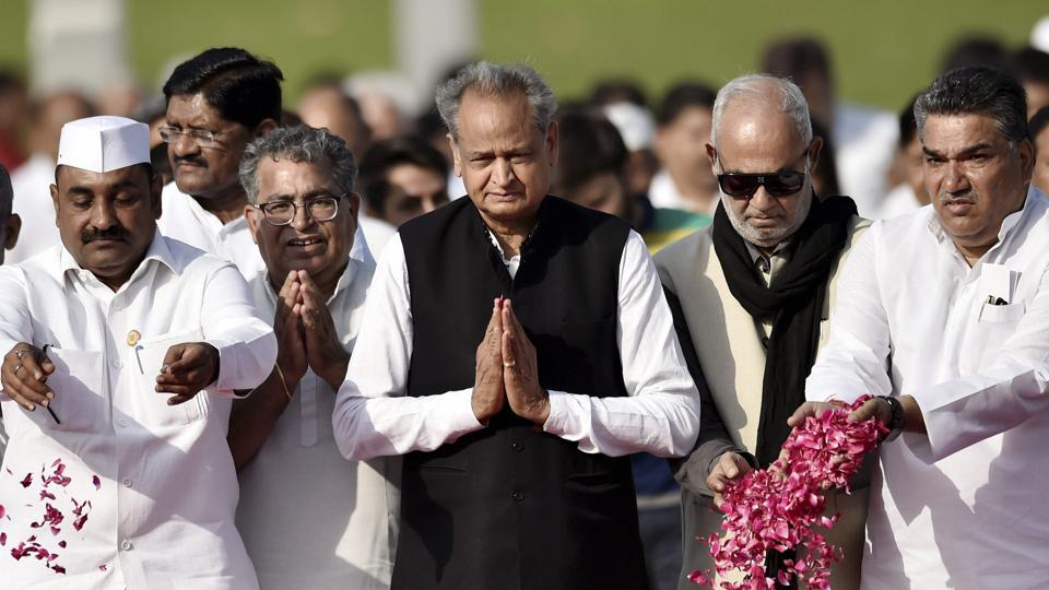 Rajasthan chief minister Ashok Gehlot and other leaders pay tribute to India's first Prime Minister Jawaharlal Nehru on his 55th death anniversary, at his memorial Shanti Van in New Delhi, Monday, May 27, 2019.