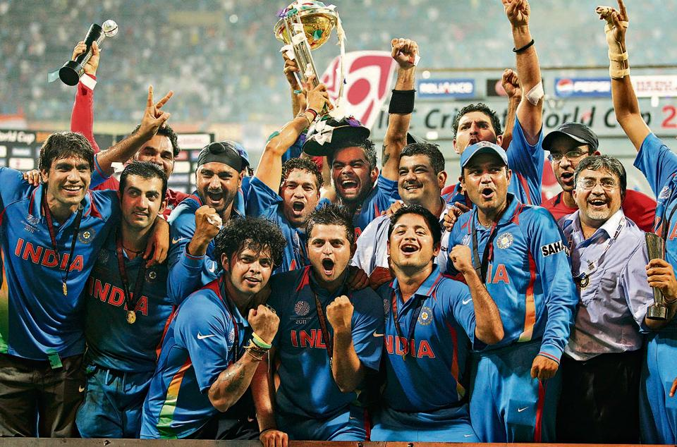 The Indian cricket team celebrates after winning the Cricket World Cup final match against Sri Lanka in Mumbai on 2 April, 2011.