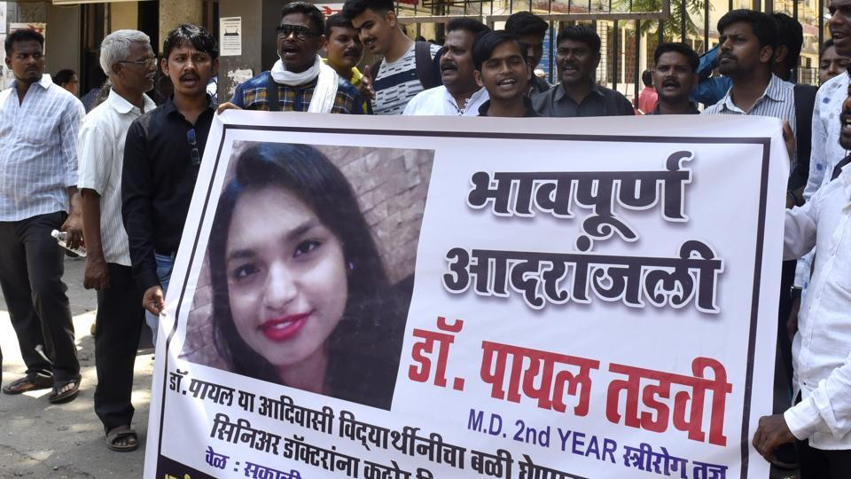 Payal's parents protested at the state-run hospital in Mumbai where she worked