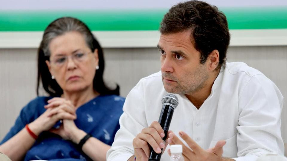 Congress president Rahul Gandhi speaks along with Sonia Gandhi at the Congress Working Committee meeting in New Delhi on Saturday.