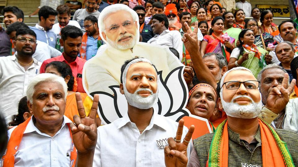 Modi supporters celebrate the BJP's win, Bengaluru, May 23. In 2014, the BJP alliance got 43.37% of votes and 17 seats. In 2019, it got 55% of votes and 25 seats