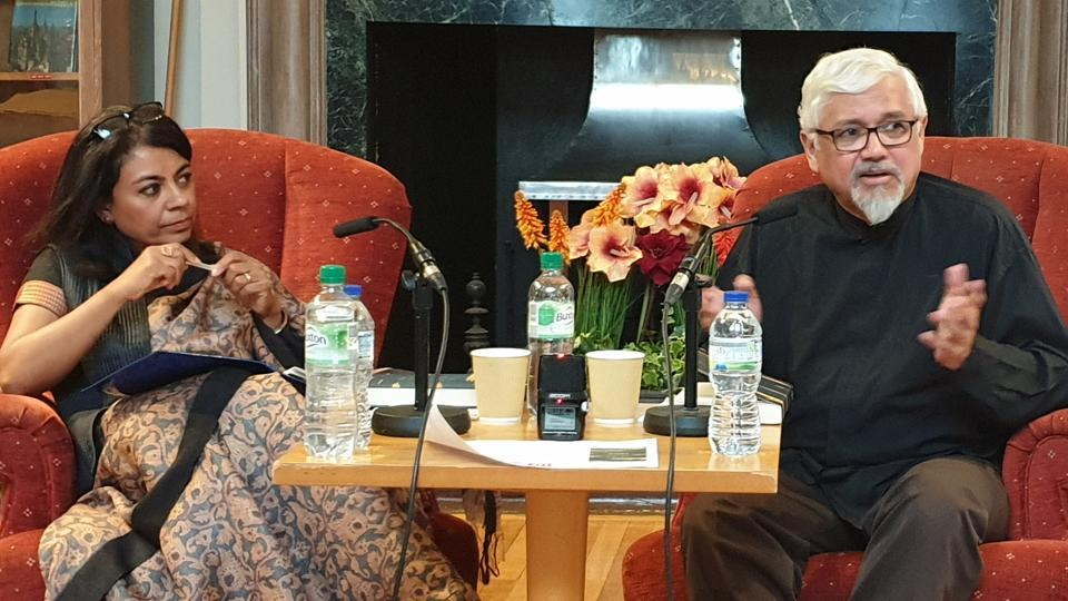 Novelist Amitav Ghosh discussing climate change and his recent work at an interaction with academic Mukulika Banerjee (left) and others at the London School of Economics on Tuesday.