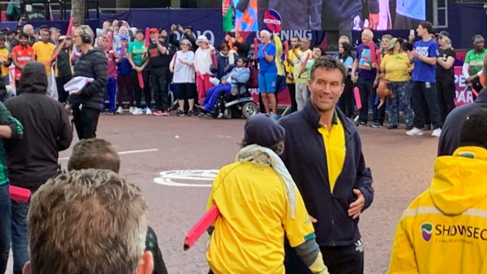 Former tennis player Pat Cash represents Australia at the ICC World Cup opening ceremony 60-second challenge.