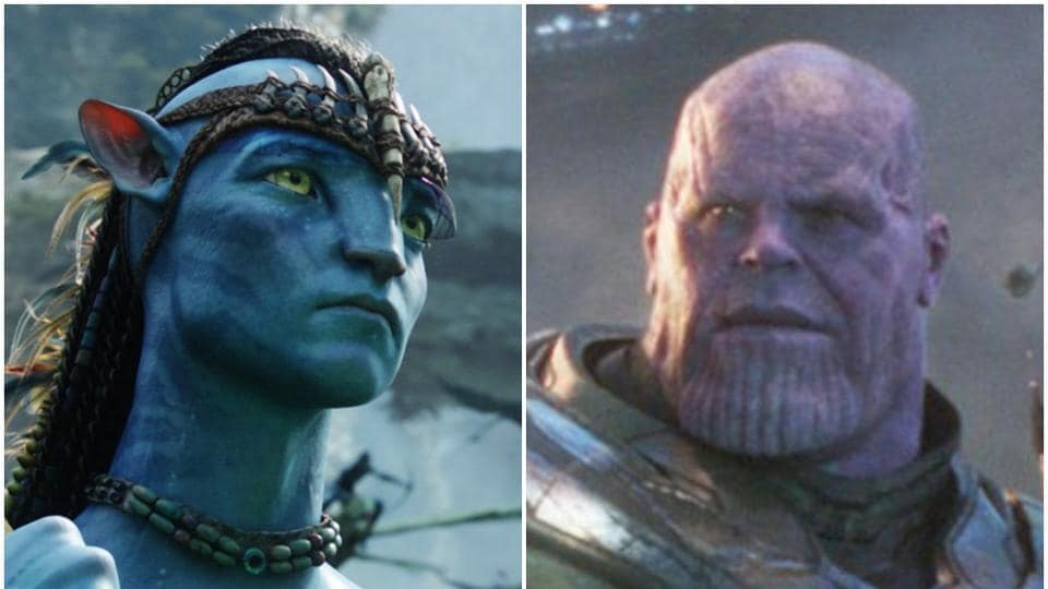 Sam Worthington and Josh Brolin as Jake Sully and Thanos in stills from Avatar and Avengers: Endgame.