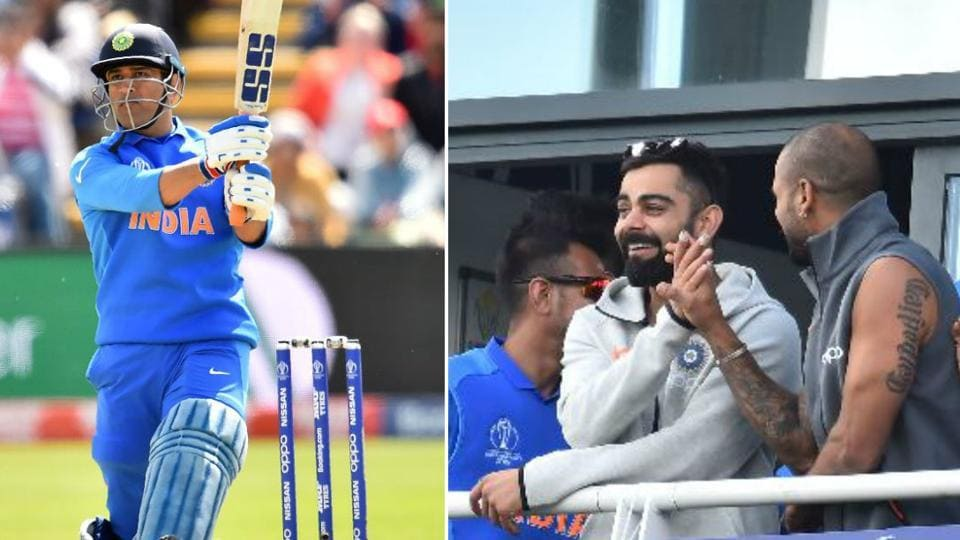 Indian captain Virat Kohli celebrates as soon as MS Dhoni reached his hundred during India vs Bangladesh warm-up match of World Cup 2019.
