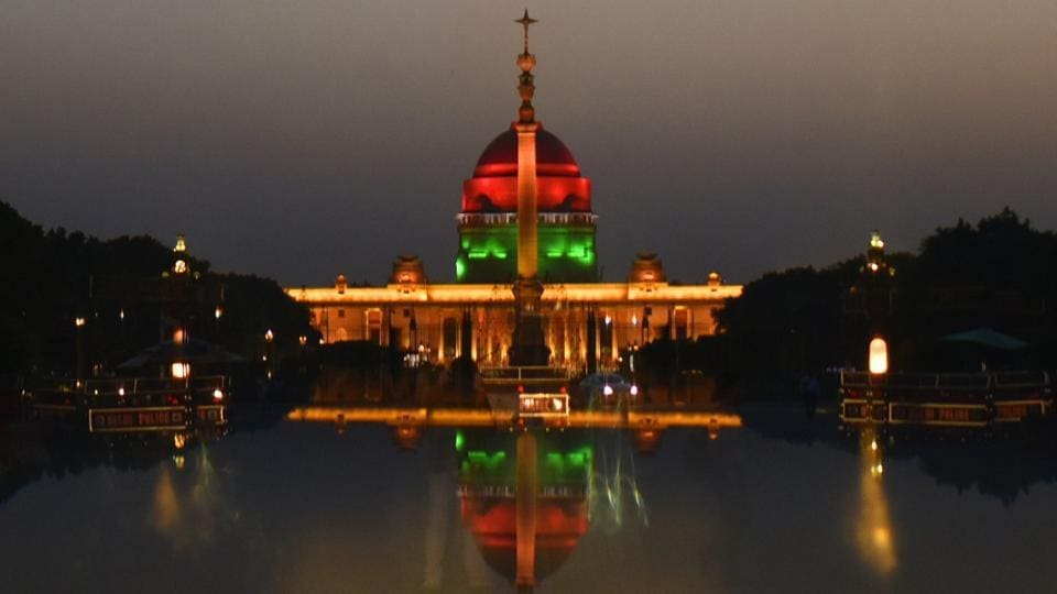 An illuminated Rashtrapati Bhawan a day before the swearing-in ceremony of Prime Minister Narendra Modi.
