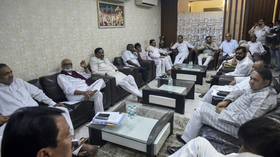 Opposition leaders from the Congress, NCP and smaller allies met at the residence of NCP leader Dhananjay Munde in Mumbai on Tuesday.