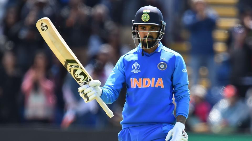 India's K.L. Rahul celebrates reaching his century during the 2019 Cricket World Cup warm up match between Bangladesh v India at Sophia Gardens stadium in Cardiff, south Wales, on May 28, 2019