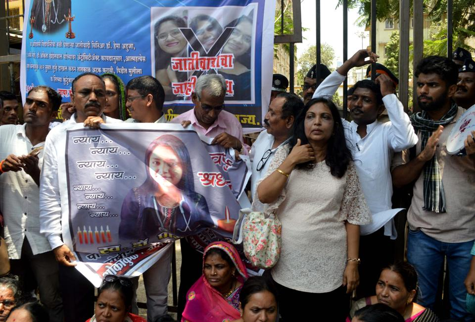 Dr Payal Tadvi's family & All India Students Federation (AISF) stage a protest outside Nair Hospital.