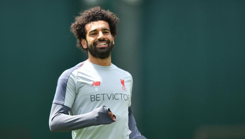 Liverpool's Egyptian midfielder Mohamed Salah takes part in a training session at the Melwood Training ground in Liverpool, northwest England on May 28, 2019