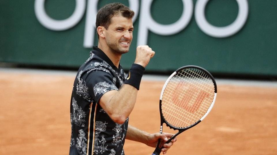 Bulgaria's Grigor Dimitrov reacts during his second round match against Croatia's Marin Cilic.