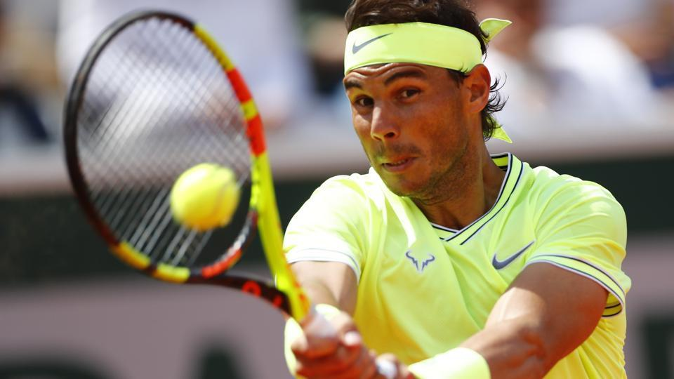 Spain's Rafael Nadal in action during his second round match against Germany's Yannick Maden.