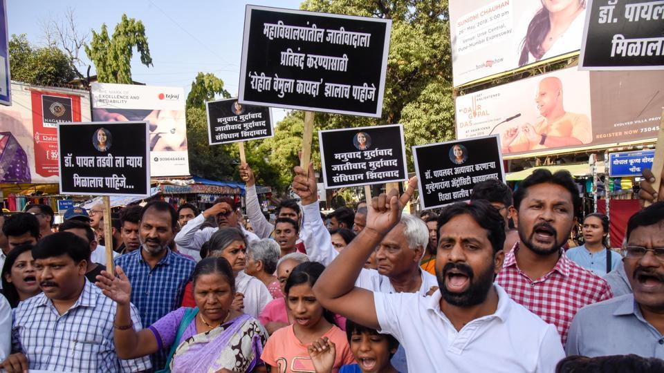 Representatives of several social groups and NGOs stage protest against the suicide of medical student Dr Payal Tadvi due to alleged casteist abuse, at Goodluck chowk in Pune on Tuesday.