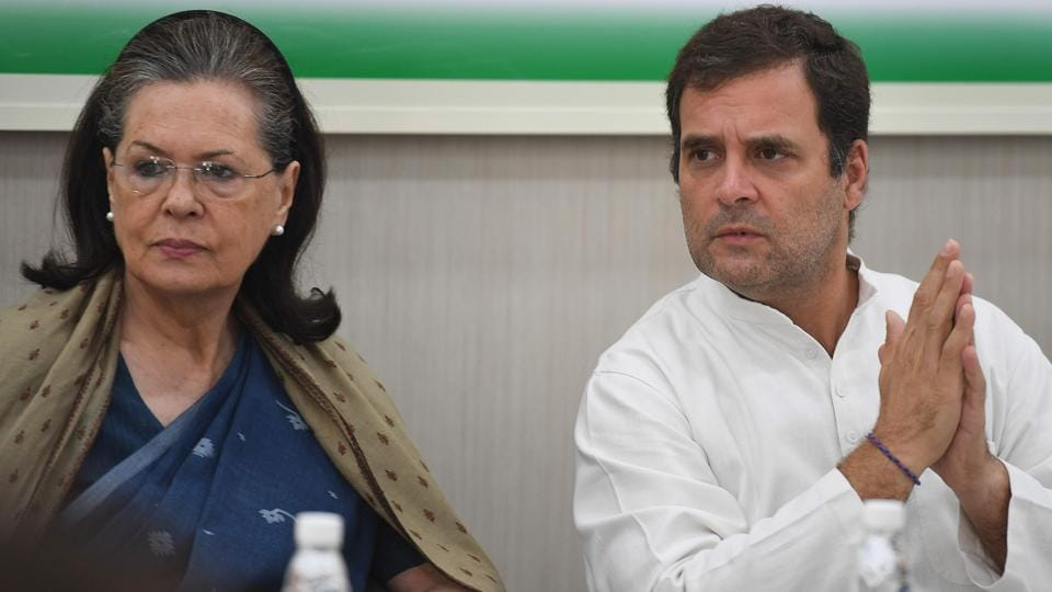 Congress president Rahul Gandhi with his mother and former United Progressive Alliance chairperson Sonia Gandhi