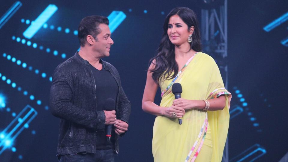 Actors Salman Khan and Katrina Kaif on the sets of dance reality show Super Dancer Chapter 3 in Mumbai on May 27, 2019.