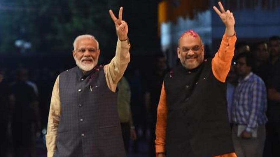 Narendra Modi and president of the ruling Bharatiya Janata Party (BJP) Amit Shah celebrate the victory in Lok Sabha elections 2019.