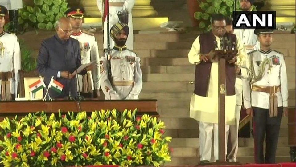 FagganSingh Kulaste during the oath-taking ceremony on May 30, 2019. (ANI)
