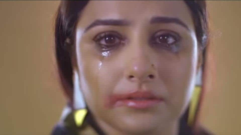 Vidya Balan is seen crying in the video.
