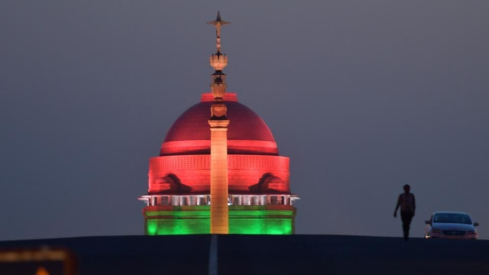 A view of Illuminated Rashtrapati Bhawan a day before swearing-in-ceremony of Prime Minister Narendra Modi as a part ofits preparations in New Delhi, India, on Wednesday, May 29, 2019.