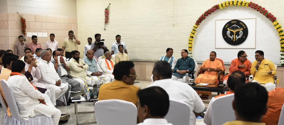 Yogi Adityanath hosted the luncheon to welcome the 64 newly elected MPs(62 BJP, 2 Apna Dal) from UP.