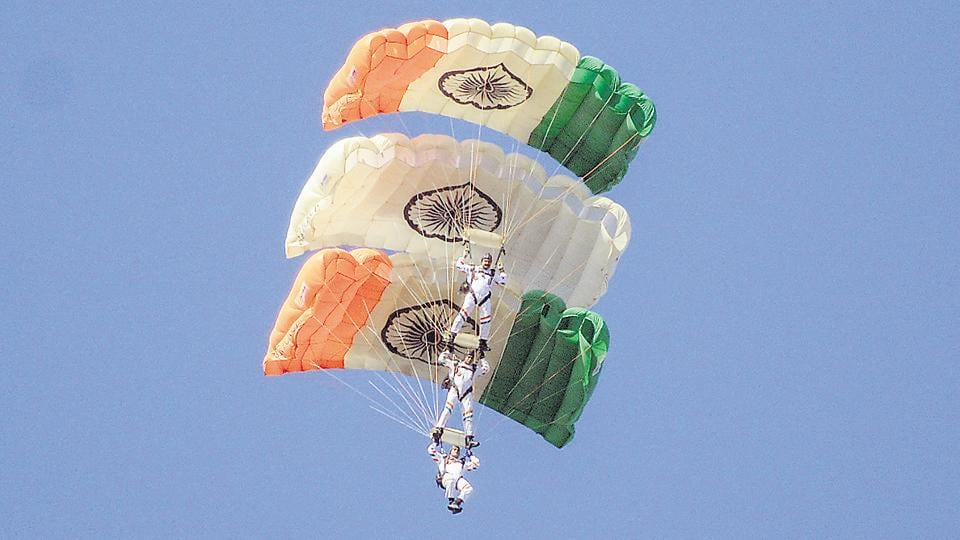 Air show by paratroopers of the Akash Ganga team during the convocation ceremony of 136th National Defence Academy (NDA) course on Wednesday.