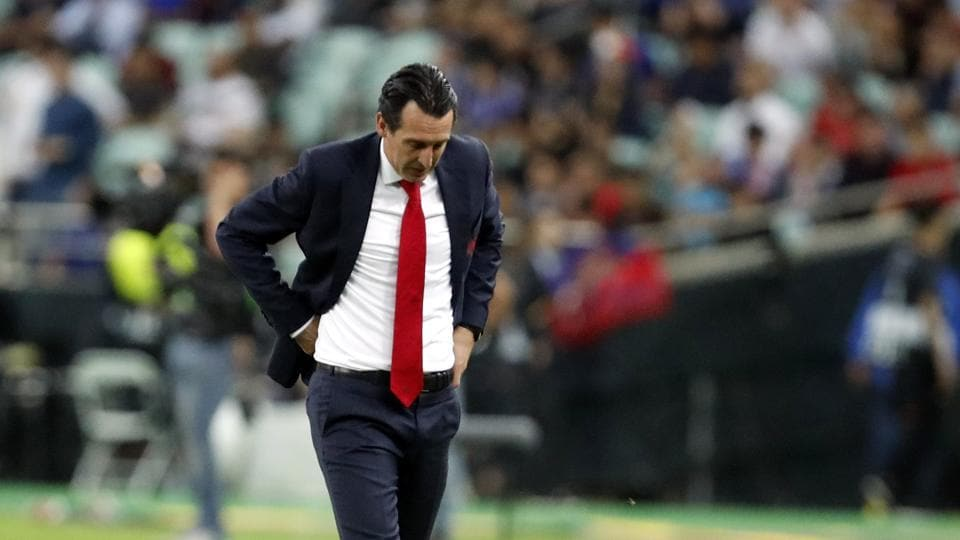 Arsenal manager Unai Emery walks on the touchline during the Europa League Final soccer match between Chelsea and Arsenal at the Olympic stadium in Baku, Azerbaijan, Thursday, May 30, 2019.