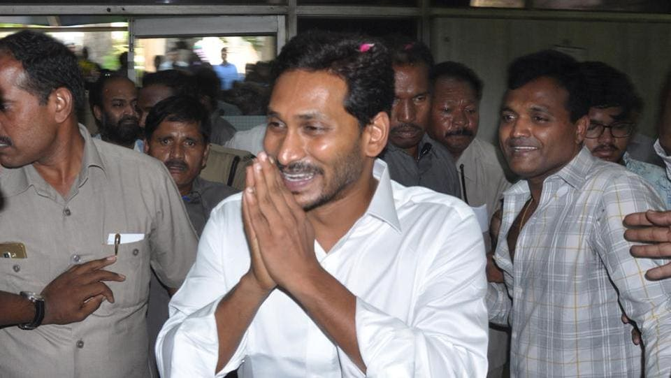 Y S Jagan Mohan Reddy took oath as the chief minister of Andhra Pradesh. He was sworn-in at the Indira Gandhi Municipal Stadium in Vijayawada after the YSRCP had stormed to power in Andhra Pradesh winning 151 seats in the 175-member Assembly. (ANI)