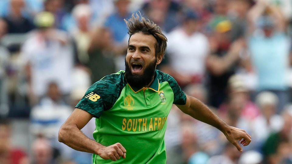 South Africa's Imran Tahir celebrates taking the wicket of England's Captain Eoin Morgan for 57 runs during the 2019 Cricket World Cup group stage match between England and South Africa at The Oval in London on May 30, 2019. (Photo by Ian KINGTON / AFP) /