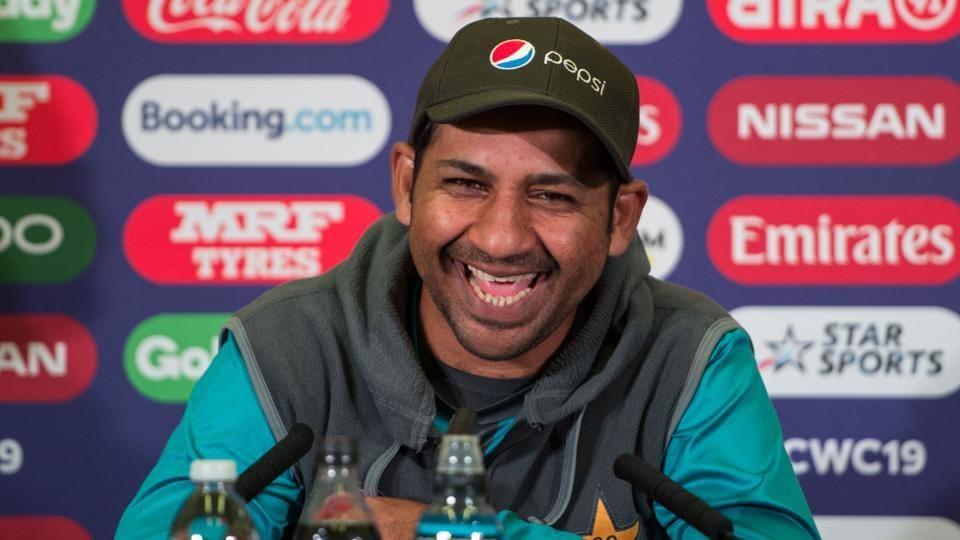 Pakistan's captain Sarfaraz Ahmed smiles during a press conference at Trent Bridge.