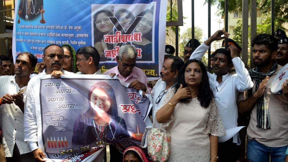 Dr Payal Tadvi's family and All India Students Federation (AISF) staged a protest outside BYL Nair Hospital.