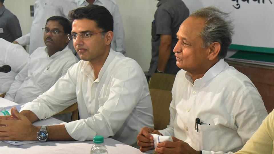 Rajasthan CM Ashok Gehlot and state Congress president Sachin Pilot along with other leaders at a party meeting in Jaipur on Wednesday, May 29, 2019.