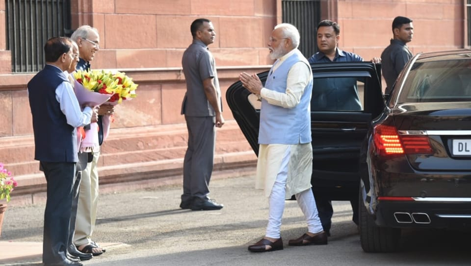 Prime Minister  Narendra  Modi arrives for the first cabinet meeting of his new government.