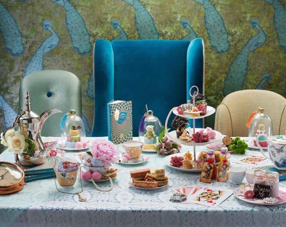 The Afternoon Tea in Wonderland at the Taj 51 Buckingham Gate in London. Tea time is serious business in England and the height of high tea decadence is a cream-laden Victoria Sponge.