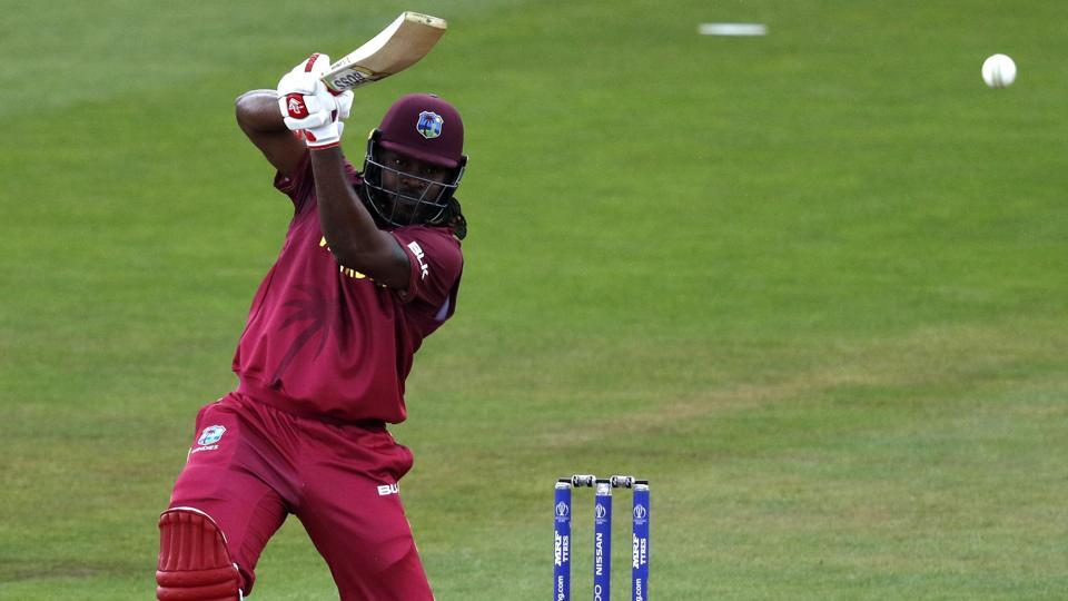 West Indies' Chris Gayle bats during the 2019 Cricket World Cup warm up match between the West Indies and New Zealand at Bristol County Ground in Bristol, southwest England, on May 28, 2019.