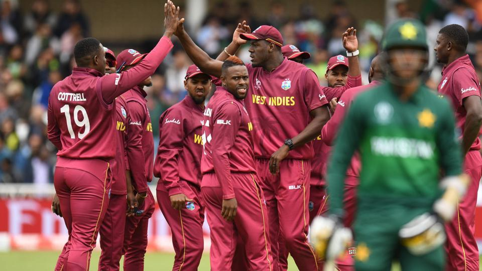 West Indies players celebrate the wicket of Pakistan's Hasan Ali. (AFP)