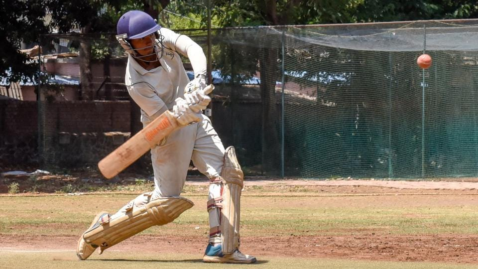 Swapnil Pathade of Club of Maharashtra in action during their match against 22 Yards A in the semi-final of Shivrampant Vishnu Damle trophy under-19 inter club cricket tournament at the Katariya High School Ground on Thursday.
