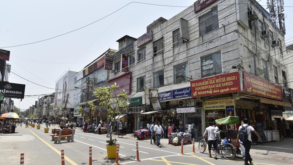 New Delhi, India - May 3, 2019: A view of Ajmal Khan Road that is open only for pedestrians, at Karol Bagh, in New Delhi.
