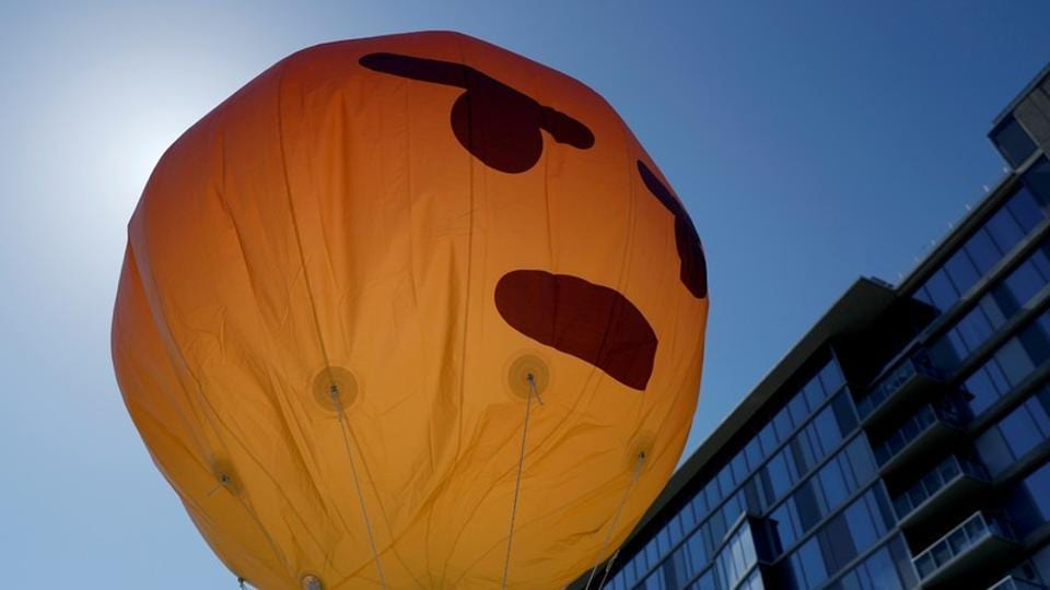 An inflated angry emoji is seen during a protest outside the Facebook 2019 Annual Shareholder Meeting in Menlo Park, California, U.S., May 30, 2019. REUTERS/Stephen Lam
