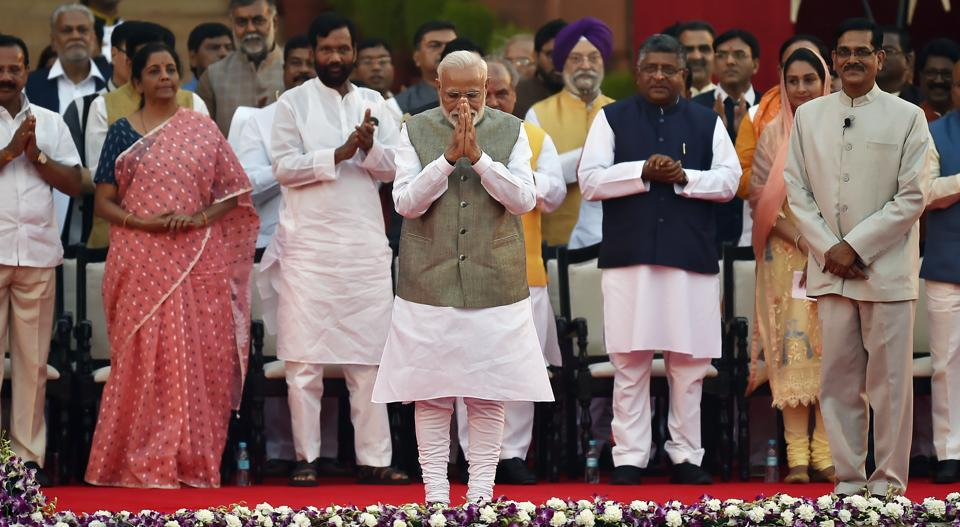 Prime Minister Narendra Modi seen before taking oath during the swearing-in ceremony at the forecourt of Rashtrapati Bhawan, in New Delhi, India, on Thursday, May 30, 2019.