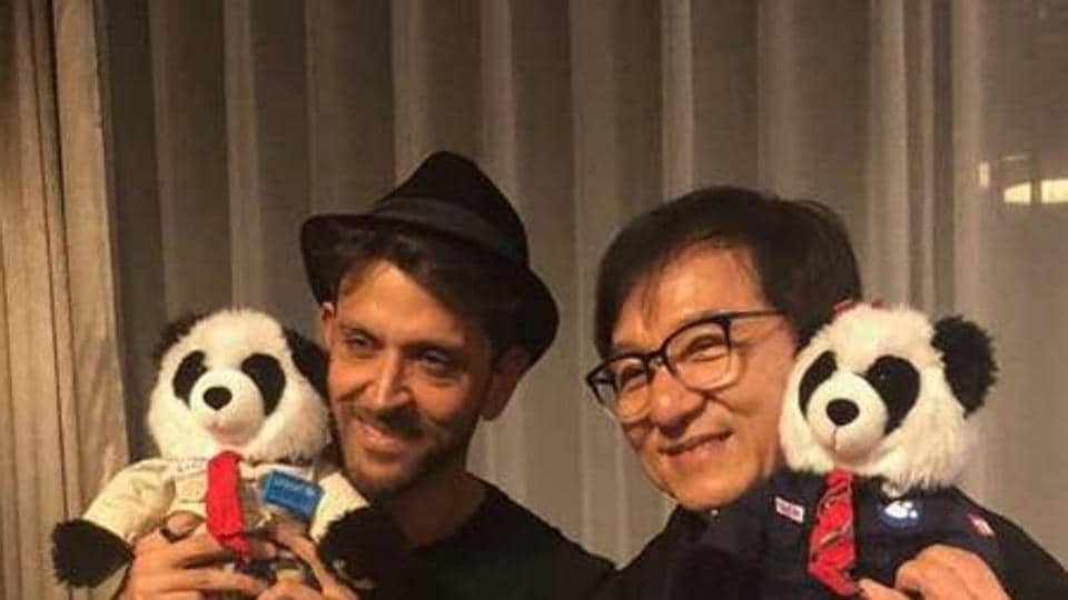 Actor Hrithik Roshan poses with Jackie Chan.