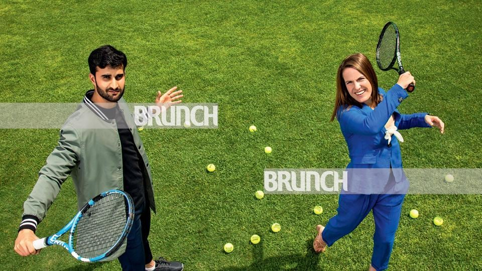 Tennis legend Justine Henin meets a fanboy in Indian tennis star Yuki Bhambri; Location courtesy: The Imperial, New Delhi ; Art direction: Amit Malik; Make-up and hair: Artistry by Anjali Jain; (On Yuki) T-Shirt, Zara; jacket and chinos, Koovs; shoes, Power(On Justine) Bustier, Zara; pantsuit, United Colors of Benetton; heels, Liberty