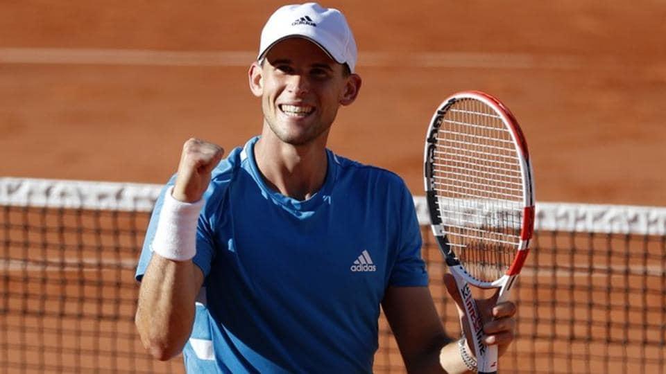 Austria's Dominic Thiem celebrates after winning his third round match against Uruguay's Pablo Cuevas.