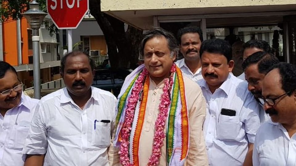 Shashi Tharoor doing the rounds of Vattiyoorkavu Assembly constituency to thank voters on June 2, 2019.